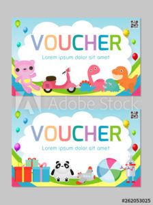 Gift Voucher Template With Colorful Pattern,Cute Gift Throughout Quality Kids Gift Certificate Template
