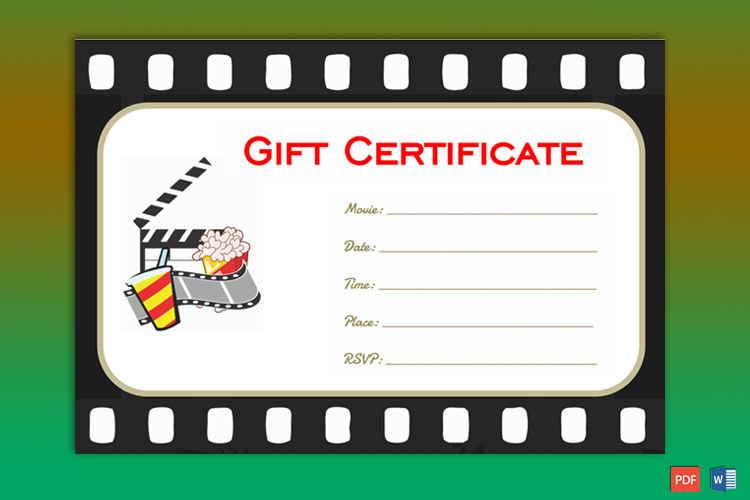 Go To Movie Gift Certificate Template   Gift Certificate for Quality Movie Gift Certificate Template
