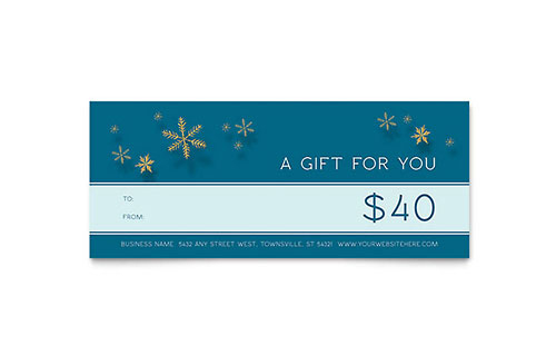 Golden Snowflakes Gift Certificate Template Design regarding Gift Certificate Template Indesign