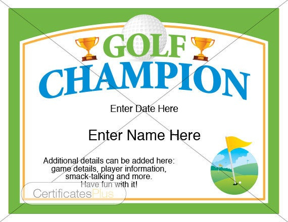 Golf Certificate, Golf Award Template, Golf Trophy, Father'S Day Gift, Golf  Gifts, Golf Gifts For Men, Golf Gifts For Women, Golf Lover in Quality Golf Certificate Template Free