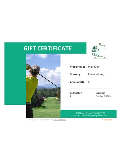 Golf Gift Certificate Template - Pdf Templates | Jotform with regard to Best Golf Gift Certificate Template