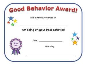 Good Behavior Award Certificate   Reading Certificates intended for Quality Good Behaviour Certificate Templates