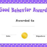 Good Behavior Award Certificates | Free Printable for Quality Good Behaviour Certificate Templates