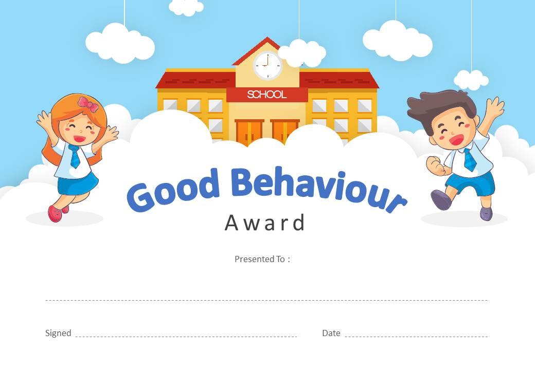 Good Behavior Award Powerpoint Certificate - Pslides with regard to New Good Behaviour Certificate Template 10 Kids Awards