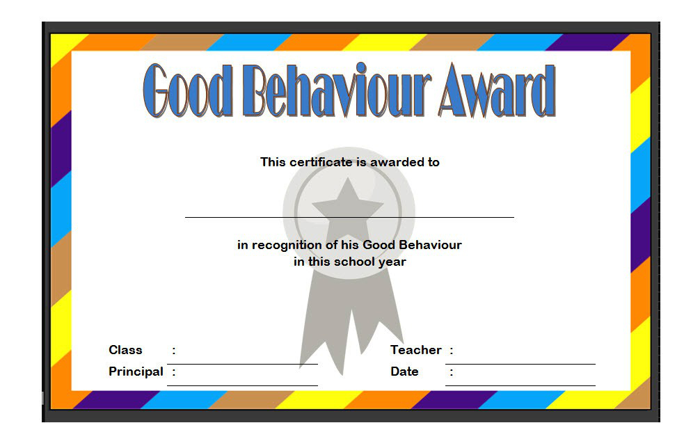 Good Behavior Certificate Free Printable 10   Best Templates pertaining to Good Behaviour Certificate Templates