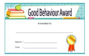 Good Behavior Certificate Free Printable 6   Student inside Quality Good Behaviour Certificate Templates