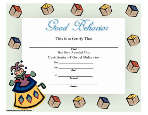 Good Behavior Certificate Printable Certificate pertaining to Good Behaviour Certificate Templates