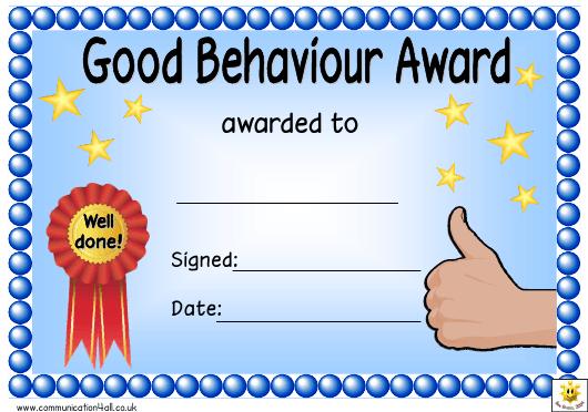 Good Behaviour Award Certificate Template Download Printable throughout Quality Good Behaviour Certificate Templates