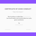 Good Conduct Certificate Template (3) – Templates Example Throughout Good Conduct Certificate Template
