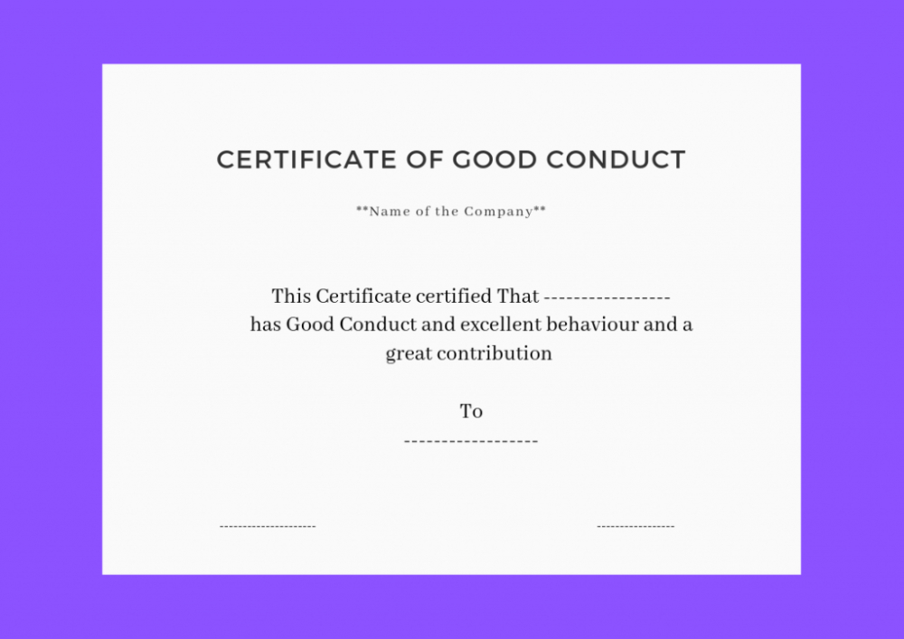 Good Conduct Certificate Template (3) - Templates Example throughout Good Conduct Certificate Template