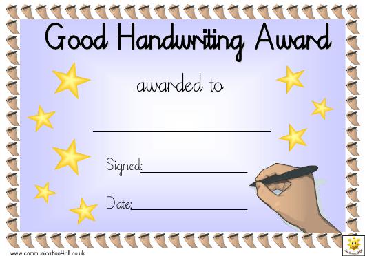 Good Handwriting Award Certificate Template Download for Handwriting Award Certificate Printable