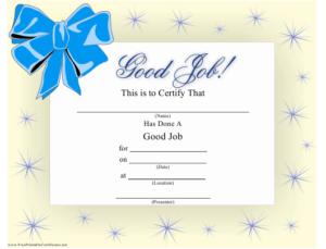 Good Job Certificate Template Download Printable Pdf for Good Job Certificate Template