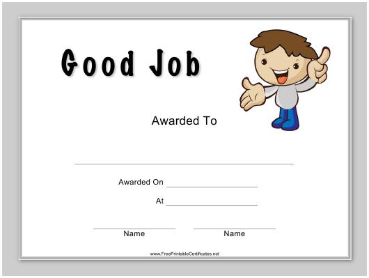 Good Job Certificate Template Download Printable Pdf throughout Good Job Certificate Template