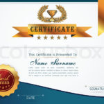 Graceful Certificate Template With  | Stock Vector Throughout Best Qualification Certificate Template