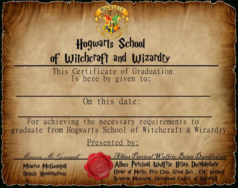 Graduation Certificate 1Captainjackharkness   Harry within Harry Potter Certificate Template