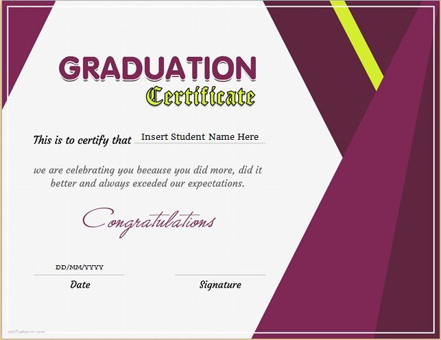 Graduation Certificate Template For Ms Word Download At Http inside Best Professional Certificate Templates For Word