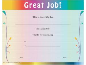Great Job Certificate Template Download Printable Pdf in New Good Job Certificate Template