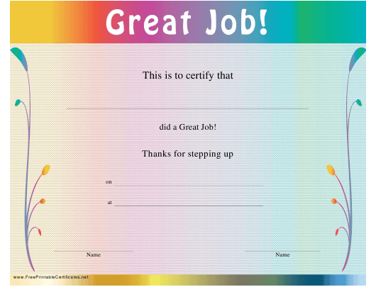 Great Job Certificate Template Download Printable Pdf with regard to Best Great Work Certificate Template