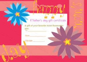 Greek Anemone Mother'S Day Gift Certificate Template with regard to Mothers Day Gift Certificate Template