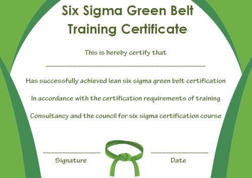 Green Belt Certificate: 10 Unique And Beautiful Templates For Quality Green Belt Certificate Template