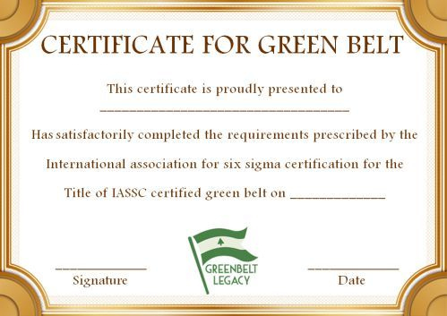 Green Belt Certificate: 10 Unique And Beautiful Templates pertaining to Quality Green Belt Certificate Template