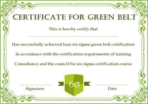 Green Belt Certificate: 10 Unique And Beautiful Templates Within Quality Green Belt Certificate Template