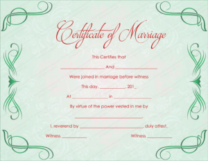 Green Grills Marriage Certificate Template pertaining to Quality Marriage Certificate Editable Template
