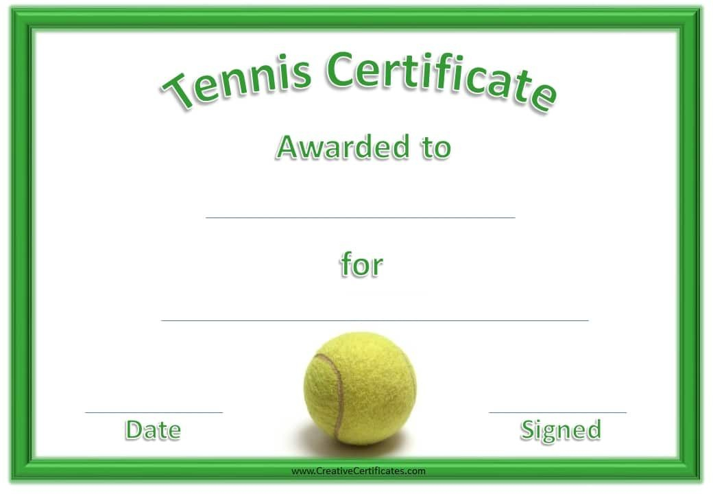 Green Tennis Certificate With A Picture Of A Tennis Ball within Table Tennis Certificate Templates Free 10 Designs