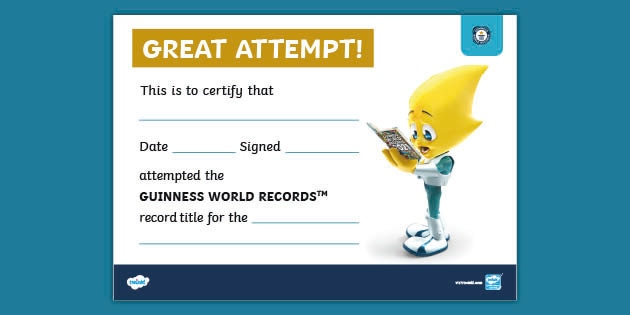 Guinness World Records At Home Certificate (Teacher Made) Intended For Fresh Guinness World Record Certificate Template