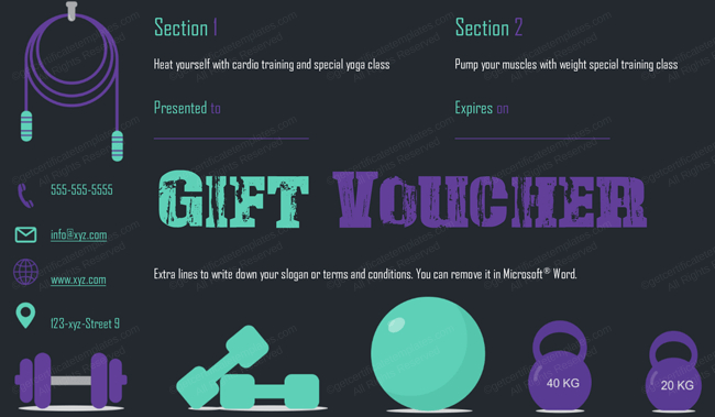 Gym Exercise Gift Certificate Template (Gift Certificate Within Quality Fitness Gift Certificate Template