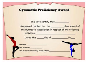 Gymnastic Certificate: Creative Certificates Free To within Gymnastics Certificate Template