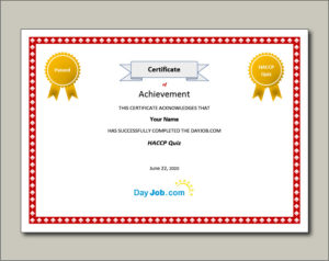 Haccp Quiz, Exam, Test Your Knowledge, Free Online, Results in Best Certificate Of Cooking 7 Template Choices Free