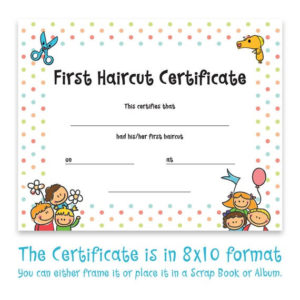 Haircut Certificate, First Haircut Certificate, Christmas Gift, Photo  Certificate, Baby First Haircut, Kids Gift, Printable Art, 8X10 Format regarding First Haircut Certificate