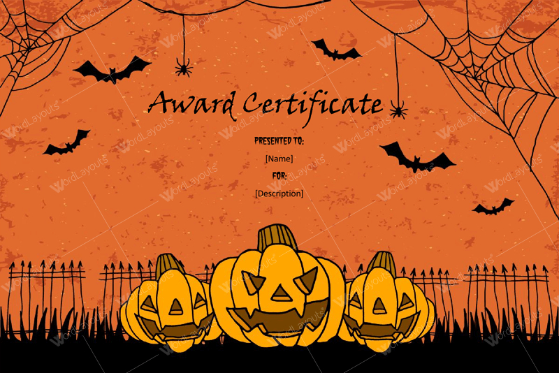 Halloween Award Certificates - 5+ Printables For Microsoft Word in Quality Halloween Certificate Template