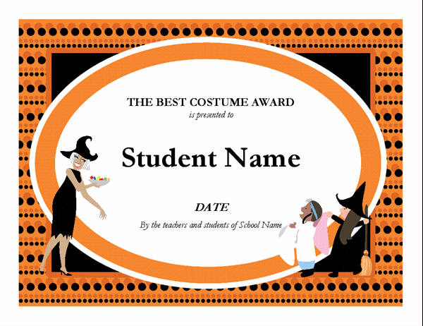 Halloween Best Costume Award within Halloween Costume Certificate Template