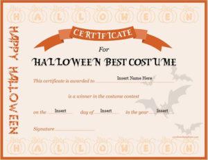 Halloween Best Costume Certificate Templates | Word & Excel in Best Halloween Costume Certificate Template