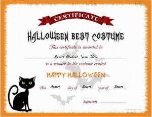 Halloween Best Costume Certificate Templates | Word & Excel intended for Halloween Costume Certificate