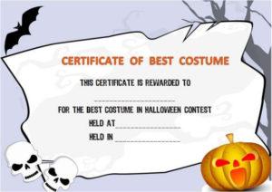 Halloween Costume Award Certificate Template | Certificate for Halloween Certificate Template