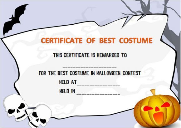 Halloween Costume Award Certificate Template | Certificate with regard to Halloween Costume Certificate Template