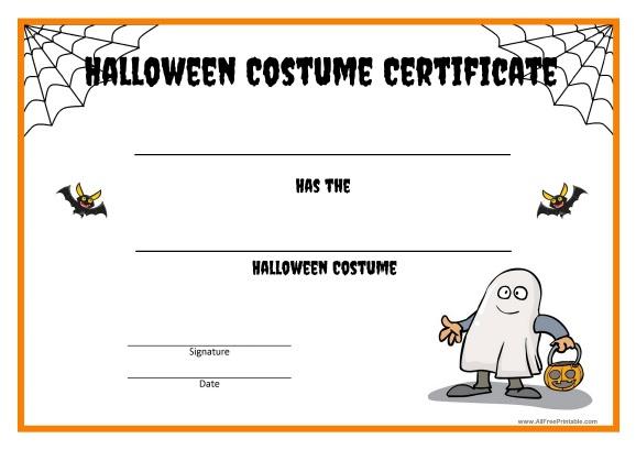 Halloween Costume Certificate - Free Printable with Halloween Costume Certificate