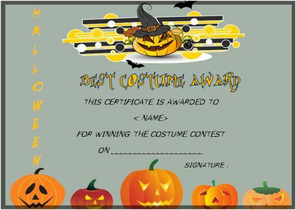 Halloween Costume Certificates With Best Designs And with regard to Halloween Certificate Template
