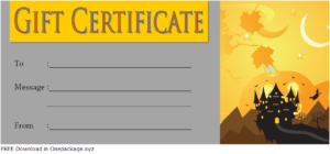 Halloween Gift Certificate Template Free 3 In 2020 | Gift in Halloween Gift Certificate Template Free