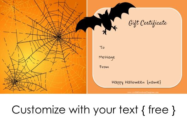 Halloween Gift Certificates | Halloween Gifts, Gift Card regarding Fresh Halloween Gift Certificate Template Free
