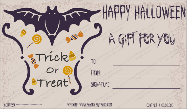 Halloween Gift Gift Template 2 - Create Halloween Certificates intended for Halloween Gift Certificate Template Free