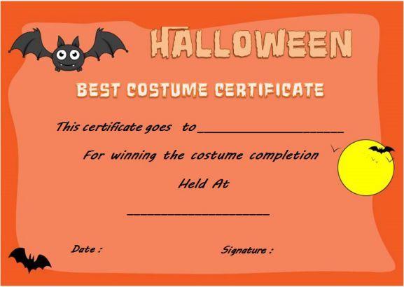 Halloween Innovative Costume Award Certificate Template regarding Best Halloween Costume Certificate