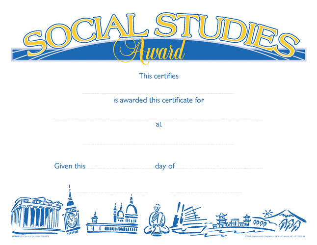 Hammond & Stephens Raised Print Social Studies Recognition Award, 11 X  8-1/2 Inches, Pack Of 25 for New Social Studies Certificate Templates