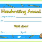 Handwriting Award Certificate intended for Best Handwriting Award Certificate Printable