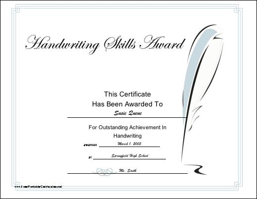 Handwriting Skill Printable Certificate | Printable regarding Handwriting Award Certificate Printable