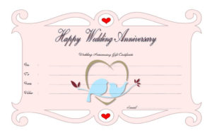 Happy Anniversary Gift Certificate Template Free (Full Of with Quality Anniversary Gift Certificate