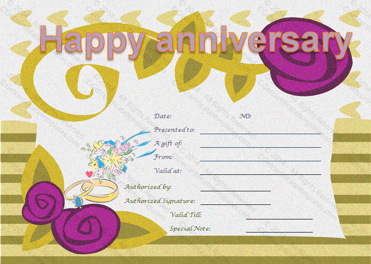 Happy Anniversary Gift Certificate Template | Happy inside Quality Anniversary Gift Certificate